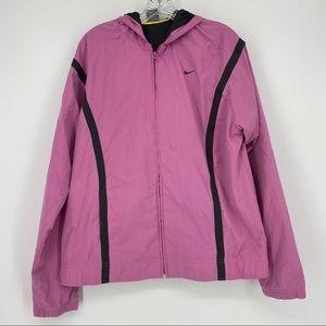 Nike Women's Pink & Black Hooded Jacket Size XL